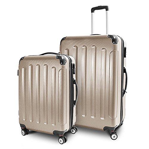 BERWIN® Kofferset L + XL 2-teilig Reisekoffer Trolley Hartschalenkoffer ABS Teleskopgriff Modell Stripes (Champagne)