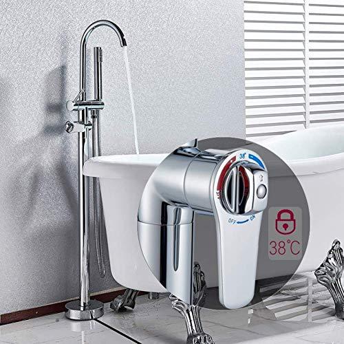 CESULIS La ducha del cromo del sistema del termostato grifo de la bañera Bañera independiente juego de ducha giratoria El caño del grifo montado en la Planta de bañera Mezclador de la mano de plástico