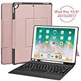 iPad Pro 12.9 Case with Keyboard for ipad pro 12.9' 2015/2017, Ultra-Thin PU Leather Silicon Rugged Shock Keyboard Stand Case with Pencil Holder (Not Fit for 2018 New ipad)-Rose Gold