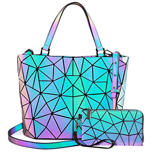 LOVEVOOK Geometrische Taschen, 2pcs Damen Handtasche Geldbörse Set, Holographic Purse Leuchtende Brieftasche Shopper Handytasche