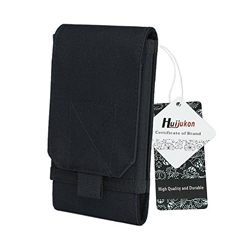 Huijukon Molle Tactical Phone Pouch Large Smartphone Pouch Belt Holster Case for iPhone 11 XS iPhone 11 XS Pro Galaxy S10 Galaxy S10 Plus Note 10 (Black)