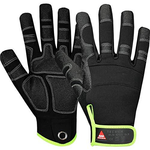 Hase Safety Gloves Technik 5-Finger Mechaniker-Handschuhe, Abriebfeste Arbeitshandschuhe mit Klettverschluss Größe L (09)