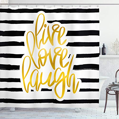 "Ambesonne Live Laugh Love Shower Curtain, Romantic Design with Hand Drawn Stripes and Calligraphic Text, Cloth Fabric Bathroom Decor Set with Hooks, 84"" Long Extra, White Yellow"