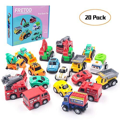 FRETOD Coches por Fricción 20 Pcs Surtidos con 10 Camión de Construcción, 4 Camión de Bomberos y 6 Coche de Carreras Mini Coches de Juguetes Vehiculos