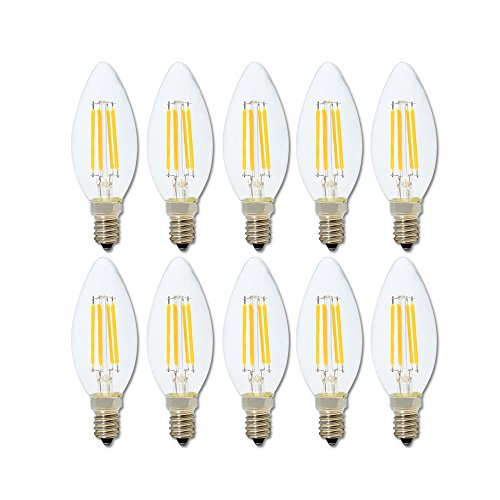10er-Pack E14 Dimmbar LED Kerzenform Ersetzt 40W Glühlampen,Warmweiss 2700K, C35 4W,360º Abstrahlwinkel LED Birnen, LED Kerzenlampen, LED Kerzenleuchten, LED Leuchtmitte