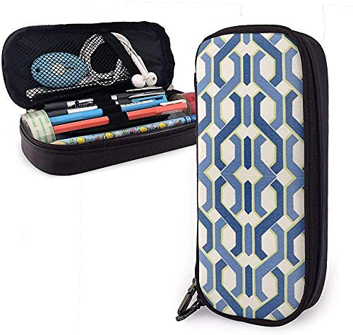 Double Helix Leather Pencil Case,Pencil Bag Pouch with Zipper Pen Holder Nanoprint Leather Stationary Case