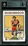 """Lenny Wilkens""""HOF 89"""" Authentic Signed Card 2008 Topps Gold #183 BAS Slabbed"""