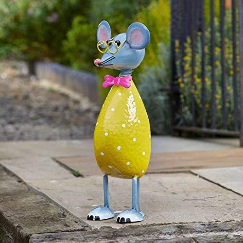 HomeZone Quirky Mega Mouse Metal Garden Animal Sculptures Lawn Statues Colourful Home Decor Garden Ornaments Choose From 5 Designs (Mega Mouse)