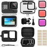 Linghuang - Kit Sumergible para GoPro Hero 8 Black, 60 m, Funda Impermeable + Filtro de inmersión + Funda de Silicona + Lente filtros + Pantalla de Cristal Templado protección para GoPro Hero 8