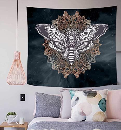 Tapiz de pared con diseño de cabeza muerta, diseño de halcón con mandala, diseño de calavera, color blanco