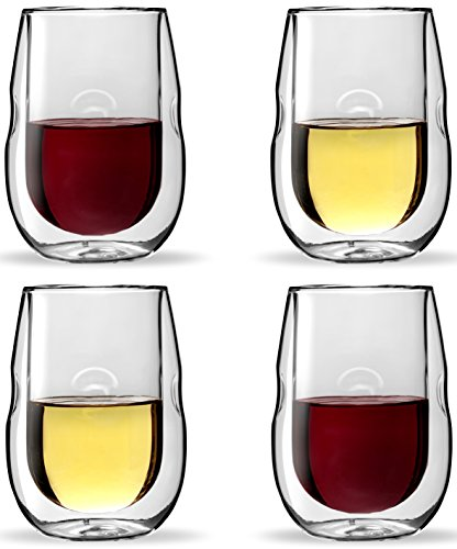 Moderna Artisan Series Double Wall Insulated Wine Glasses - Set of 4 Wine and Beverage Glasses