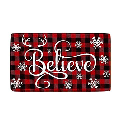 NNHCV Merry Christmas Door Mat, Christmas Doormat with Thickened Non-Slip PVC Backing,Christmas Decorative Doormat, Outdoor Welcome Mats for Front Door, 60x40cm