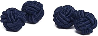 Pair of Solid Color Silk Knot Cufflinks