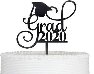 Grad 2020 Cake Topper for Class of 2020 Graduation Party Decorations Acrylic Congrats Grad Supplies (Black)