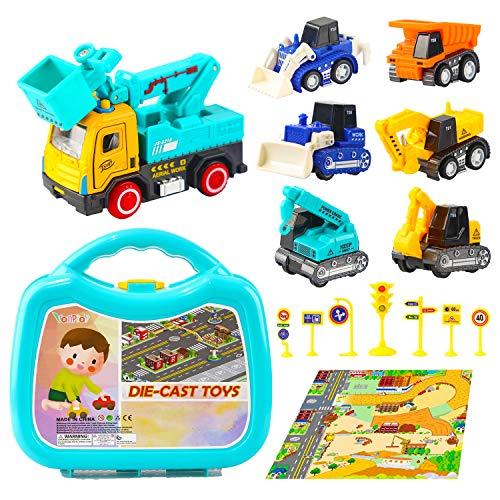 Vanplay Zurückziehen Spielzeugauto mit Verkehr Straße Teppich Bagger Kleinwagen für Kinder Spiel 3 4 5 Jahre Alt