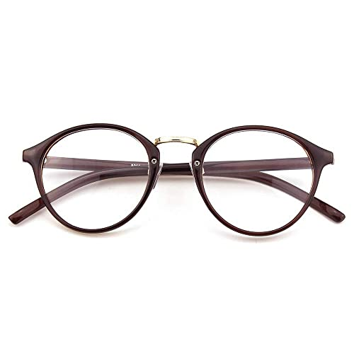 e485f668218 Happy Store CN65 Vintage Inspired Metal Bridge Round UV400 Clear Lens  Glasses for Men and Women