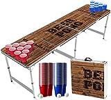 Juego de Beer Pong Oldschool | 1 Mesa Beer Pong + 120 Tazas (60 Azules y 60 Rojas) + 6 Bolas | Mesa Oficial | Juego de Beber | OriginalCup®