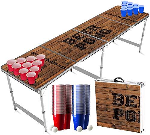 Original Cup - Set de Mesa de Beer Pong, 1 x Mesa de Beer Pong + 120 x Vasos (60 Rojos y 60 Azules) + 6 x Bolas, Dimensiones Oficiales 240 x 60 x 70 cm - Oldschool