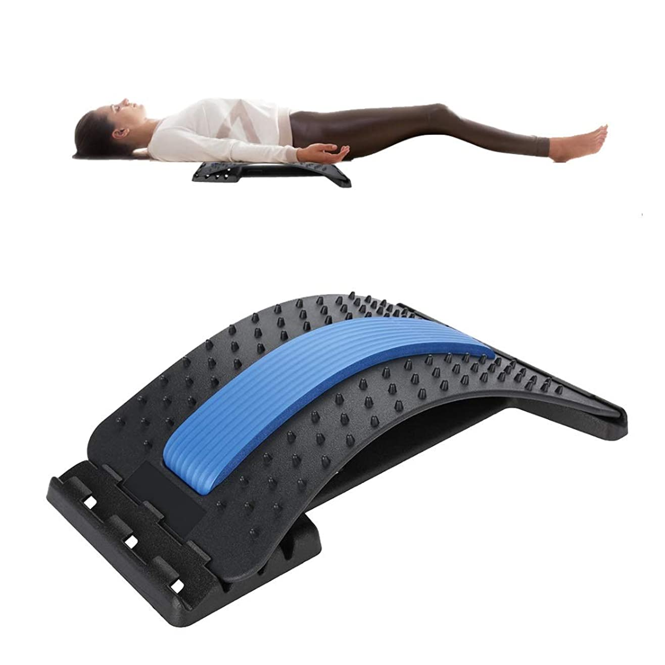 細菌アパートカルシウム背中マッサージャー 腰部サポート、腰部の背もたれ ストレッチャー装置 ストレッチリラックス脊柱 減圧枕 痛み緩和 姿勢矯正器
