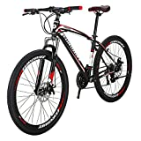 Bikes EURX1 Mountain Bike 21 Speed 27.5 Inch Regular Spoke Wheels Bicycle BlackRed