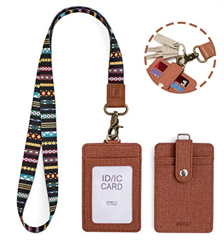 SENLLY ID Badge Holder Gift with Detachable Neck Lanyard Strap, 2 Card Slots and 1 Clear ID Window, for Office ID, School ID, Driver Licence, Credit Cards (Trib)