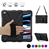 BRAECN iPad Mini5 Case,iPad Mini4 Shockpoof Case Three Layer Drop Protection Rugged Protective Heavy Duty Cover w/ 360 Degree Swivel Stand/Hand Strap and Shoulder Strap for iPad Mini 2019 Case (Black)