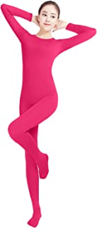 Shinningstar Women's Well-fit Spandex Lycra One Piece Footed Small Round Collar Costume Dance Unitard