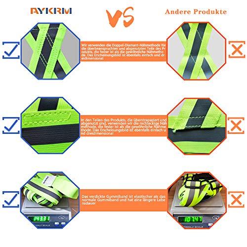 AYKRM Warnweste Fahrrad Reflektorweste Joggen Sicherheitsweste Einstellbar Leicht für Laufen, Motorrad, Running Reflektierende für Erwachsene, Kinder (Blau) - 2