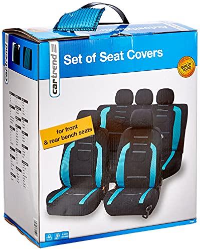 UNITEC Sitzbezugset Fashion Iceblue 14-teilig, Autositzbezüge KFZ Sitzbezüge Auto Autositze Tuning Auto Sitze Style