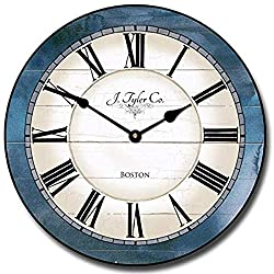 Wall Clock 15 Round Wood Clock, Rustic Wall Clock Carolina Blue Wooden Decorative Round Wall Clock Design Home Decor Ultra Quiet Non ticking Whisper Quiet Battery Operated Hanging Clock