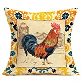 Xihomeli Farmhouse Rooster Farm Pillow Covers Vintage Rustic Animal Cushion Cover Square Cotton Linen Decorative Pillow Case for Couch,18x18 Inch Cock Pillowcase (Rooster)