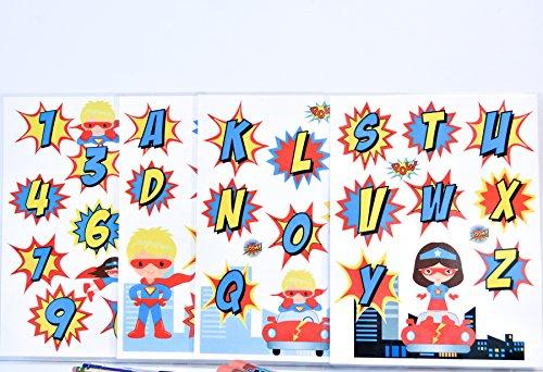 Alphabet Laminated, Alphabet and Numbers Laminated for Kids, Superhero Alphabet and Numbers