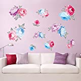 Best Wall Stickers For Bedroom Sofas - decalmile Rose Flower Wall Decals Bedroom Wall Art Review