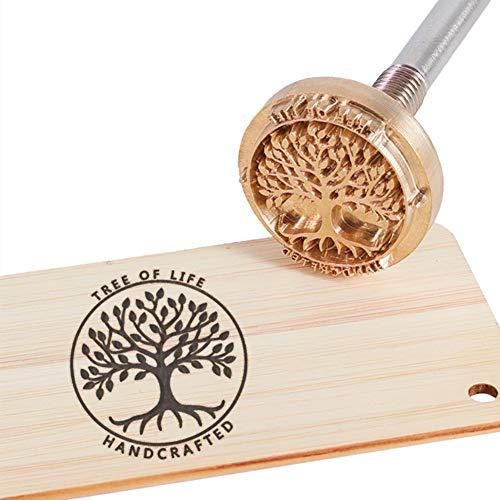 OLYCRAFT Wood Branding Eisen BBQ Heat Stamp Mit Messingkopf Und Holzgriff Für Holz, Leder Und Die Meisten Kunststoffe - Baum Des Lebens