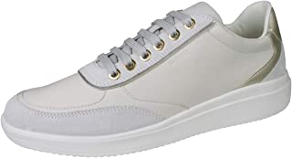 GEOX D Tahina C Womens Nappa Leather Fashion Trainers Lace-Up Zip Shoes