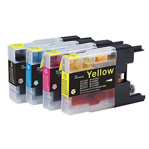 4 Multipack de alta capacidad Brother LC1240 , LC1280 Cartuchos Compatibles 1 negro, 1 ciano, 1 magenta, 1 amarillo para Brother DCP-J525W, DCP-J725DW, DCP-J925DW, MFC-J430W, MFC-J5910DW, MFC-J625DW, MFC-J6510DW, MFC-J6710DW, MFC-J6910DW, MFC-J825DW. Cartucho de tinta . LC-1240BK , LC-1240C , LC-1240M , LC-1240Y © 123 Cartucho