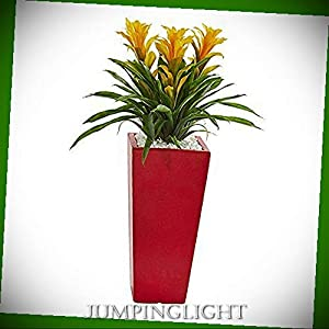 JumpingLight Triple Bromeliad Artificial Plant in Red Planter, Yellow Artificial Flowers Wedding Party Centerpieces Arrangements Bouquets Supplies