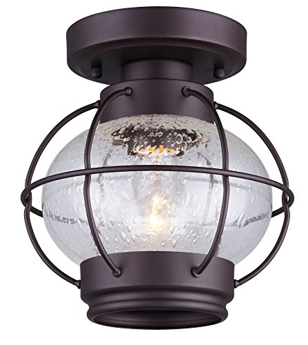 Canarm IFM636A08ORB Ltd Potter 1 Light Flush Mount Seeded Glass, Oil Rubbed Bronze