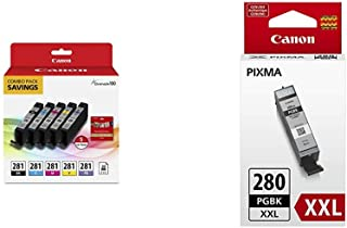 $76 » Canon CLI-281 BKCMYPB / 20 Sheets 5%22x5%22 Square Combo Pack & PGI-280 XXL Pigment Black Ink Tank, Compatible to: TS8120,...