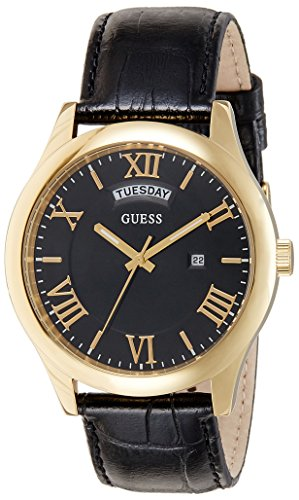 Guess Herren Analog Quarz Uhr mit Leder Armband W0792G4