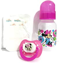 Baby Doll Bottle Set DIY With Pacifier, 5oz Bottle, Diaper, Instructions + Minnie Bottle Compatible with Baby Alive Super Snackin Lily or Reborn Doll - NO DOLL - Colors /Designs Will Vary
