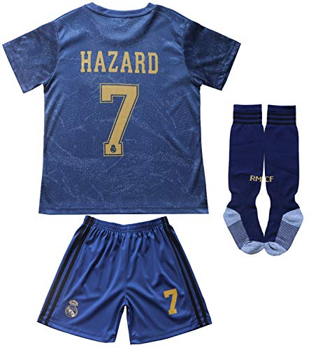 SecenMerch 2019/2020 New Hazard No #7 Real Madrid Away Blue Kids Soccer Jersey Kit Shorts Socks Set Youth Sizes (Away, 8-9 Years Old)