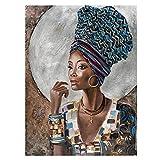 UIGJIOG Cuadro De Lienzo De Mujer Africana, Impresiones Mujeres Negras Africanas, Arte De Pared Decorativo Abstracto Pintado en la Pared artística sin Marco,40x60cm No Frame