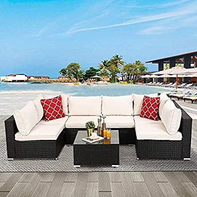 Recaceik 7 Pieces Outdoor Furniture Patio Rattan, PE Wicker Chairs Sectional Sofa Couch Conversation Sets with Ottoman for Backyard Porch Garden Poolside Balcony, White