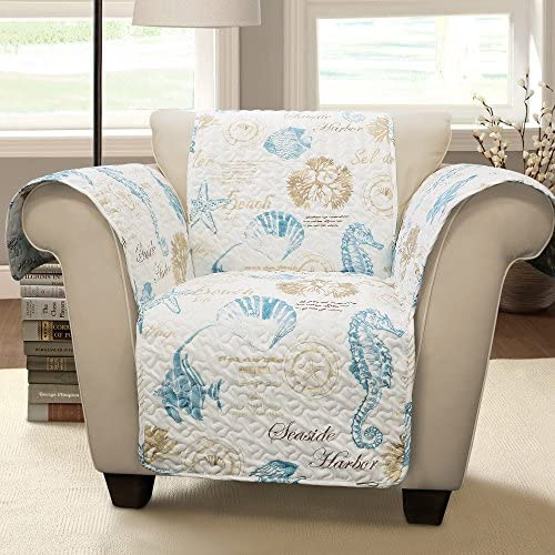 Best Lush Decor Harbor Life Arm Chair Furniture Protector, Blue/Taupe