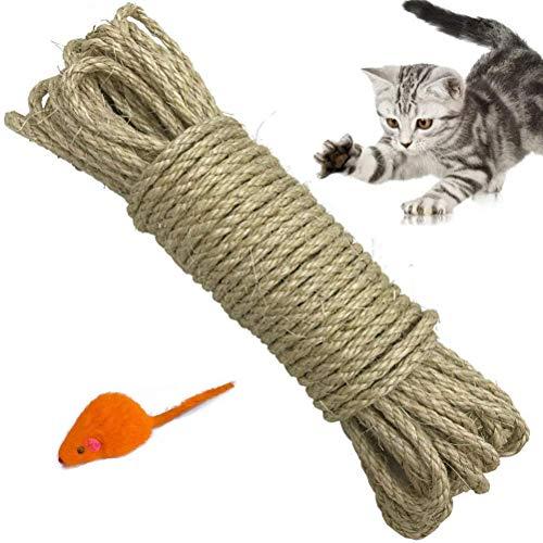Yangbaga Natural Sisal Seil 6mm Ersatz Alte DIY Zubehör String ideal für den Austausch Katze Baum Griffoir (10m)