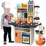 Kinderplay cocina juguete, cocina para niños - luz, agua, vapor, accesorios de cocina con sonido, cocinitas de juguetes, KP9294
