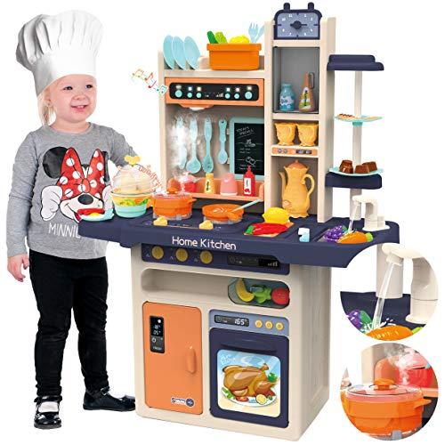 Kinderplay Kinderküche Spielküche Spielzeugküche Küchenset - Licht, Wasser, Dampf, Ton, Küchenzubehör, KP9294
