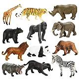 Achort Figurine Animaux, 12 Pièces Mini Animaux Forêt Ensemble de Jouets Ferme Jouet Réalistes en Animaux Plastique pour Garçons Filles Enfants, Monde Animal Ressemblant Animaux Sauvages