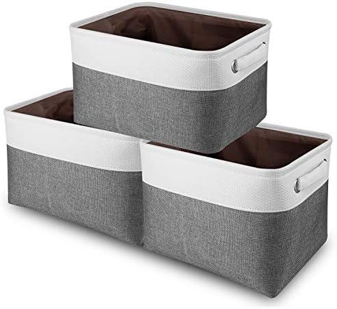 Awekris Large Storage Basket Bin Set 3 Pack Storage Cube Box Foldable Canvas Fabric Collapsible product image